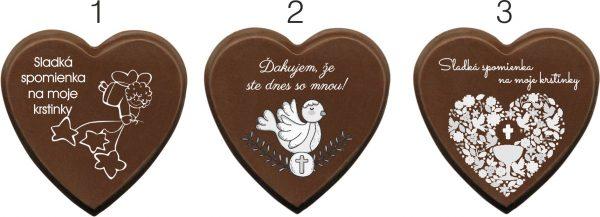 Cokoladka na krst - srdiecko
