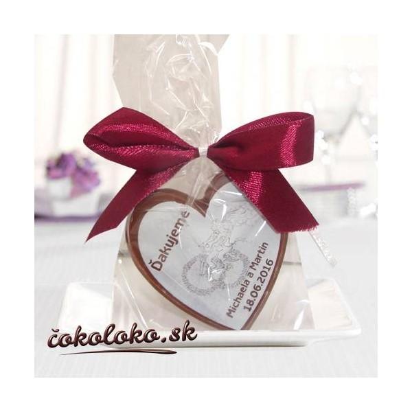 """Svadobné čokoládky s menami """"SRDIEČKO"""""""