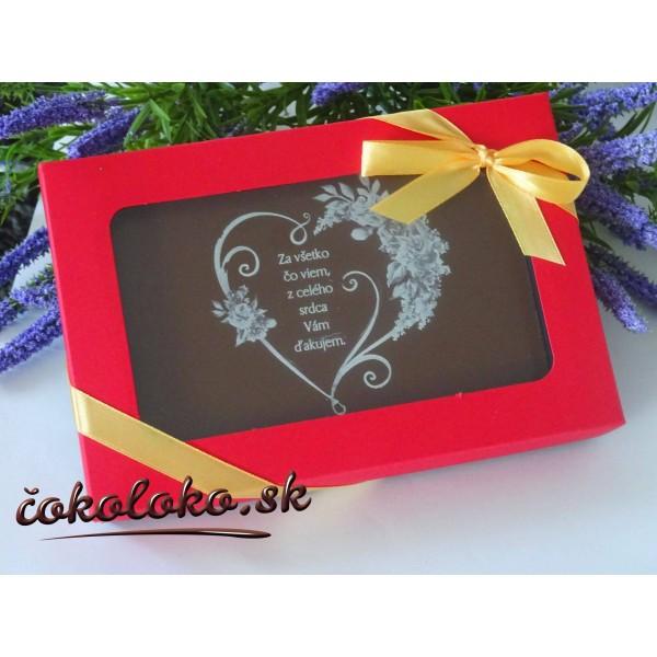 Čokoládová pohľadnica pre pani učiteľku