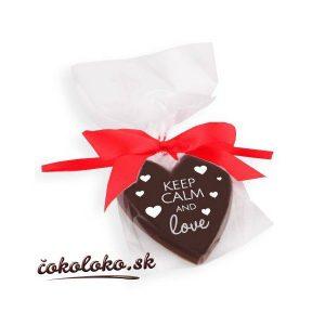 """Valentínske ČOKOLÁDOVÉ SRDIEČKO """"KEEP CALM AND LOVE"""""""