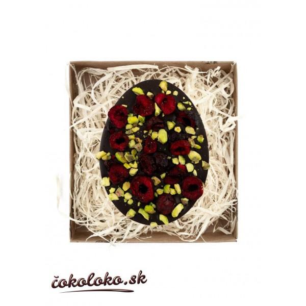BIO čokoládové vajíčko s višňami a pistáciami (100 g)
