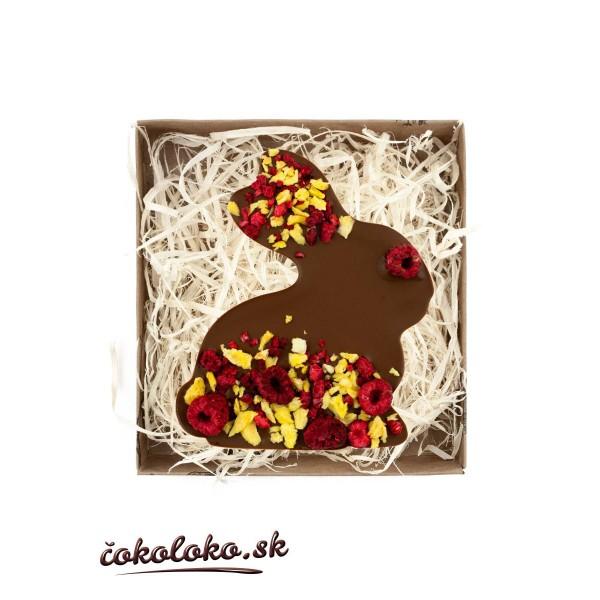 BIO čokoládový zajačik s malinami a ananásom (100 g)